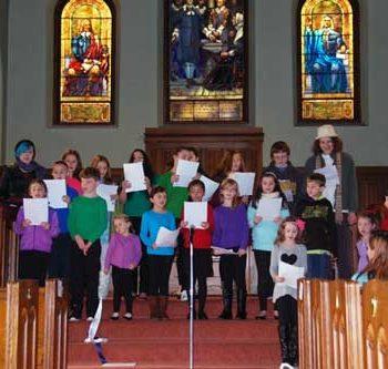 First Parish children singing in 2015