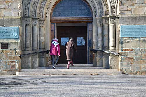 First Parish members at church