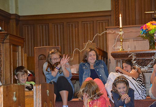 Kids with silly string during service