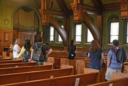 Nancy conducting tour of First Parish in 2016